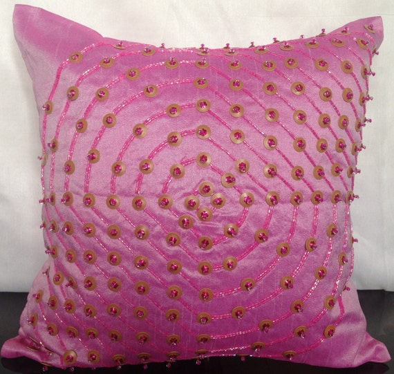 Pink Beaded Decorative Pillow : Pink Abstract Beaded Pillows Pink Cushion by TheWhitePetalsDecor