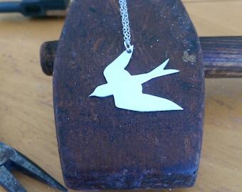 Swallow necklace, silver bird pendant