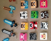 15 MINECRAFT INSPIRED party favors-assorted characters, necklaces or backpack clips