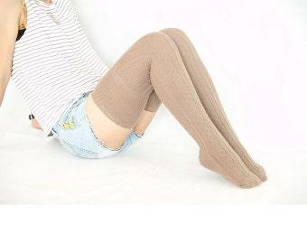 Beige Thigh High Socks Boot Socks Knit Socks Knee Socks Cuff Flanging Thick Socks for Womens 17121069