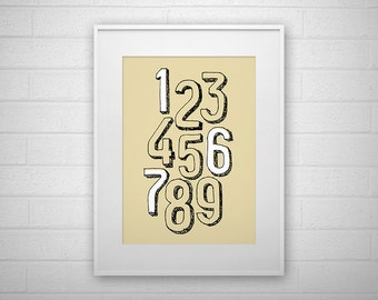 Typography Art Print - 1-9 - Letter poster - Printable - Wall Art