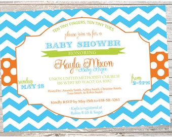 Baby Shower Invitation - Blue and Orange - Printable