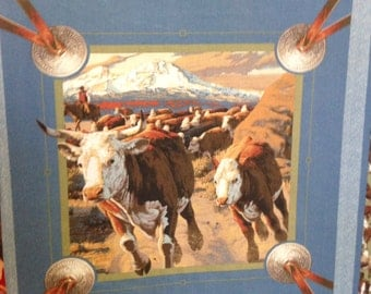"""Cattle Drive Pillow Squares, sold by the 18"""" square"""