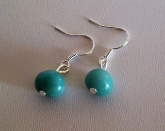 Sterling silver Amazonite pebble earrings