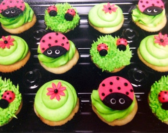 Lady Bug Fondant Cupcake Toppers