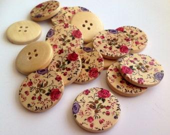 10x Large floral wooden button