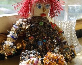 Folk Art Button Doll - Raggedy