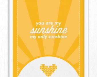 You Are My Sunshine Wall Print | Nursery Decor | Children's Room Print