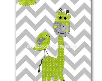 Giraffe Nursery Digital Art Printable Print Baby Boy Nursery Art Children Art Kids Wall Art Digital Download 8x10 11X14 INSTANT DOWNLOAD