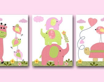 Elephant Nursery Giraffe Nursery Art Baby Nursery Print Baby Girl Nursery Digital Download Print set of 3 8x10 11X14 INSTANT DOWNLOAD Rose
