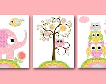 Printable Art Nursery Digital Print Baby Girl Nursery Owl Nursery Printable Wall Art Digital Download set of 3 8x10 11X14 INSTANT DOWNLOAD
