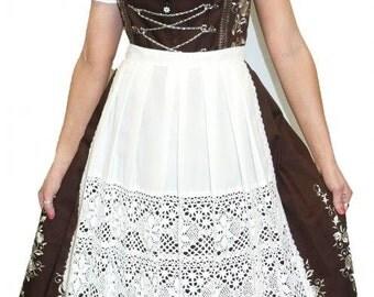 3-Piece Long Brown German Dirndl Dress 2 4 6 8 10 16 20 22 24 26 XS S M L XL