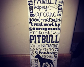 Distressed Wooden Dog Breed Sign- Pitbull