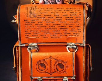 Men's vintage handmade messenger bag, leather, laptop Macbook, pyrographied Human Mecanics 1