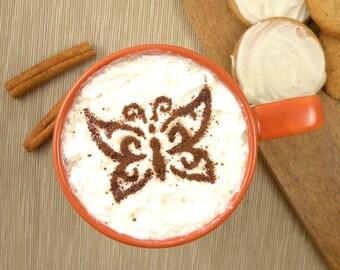 Butterfly - coffee stencil, cake stencil, cupcake stencil