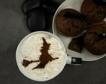 Witch - coffee stencil, cake stencil, cupcake stencil, Halloween