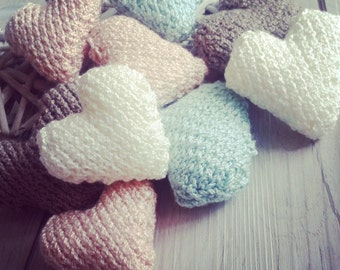 Knitted hearts decoration gift wedding favours