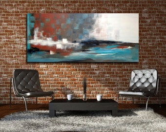 "XL Abstract Painting 63"" x 27"" x 2"" Acrylic Modern Art Blue Landscape  Ready to hang."