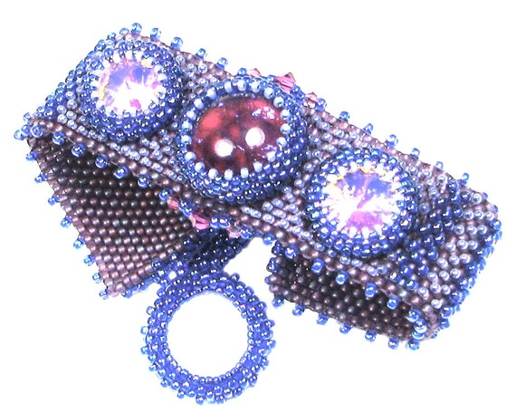 "Blueberry Hill peyote stitch bracelet instant download pattern, 1"" wide, up to 9"" long, textured weave, links to free video tutorials"