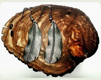 Hypoallergenic Feather Earrings, Handmade Feather Earrings, Surgical Steel Earrings, Antique Silver, Bronze, Handmade Earrings, Boho Jewelry