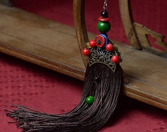Brown Tassel & Gold Plated Fan Shape Earring with Chinese Silk Gift Bag