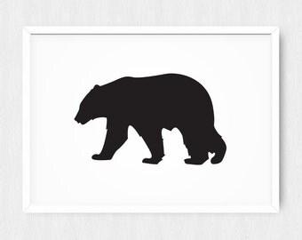 Bear Silhouette Print, Bear Print, Bear Wall Decor, Animal Art, Black Bear, Vertical, Woodland, Printable, Digital Poster Print, Download