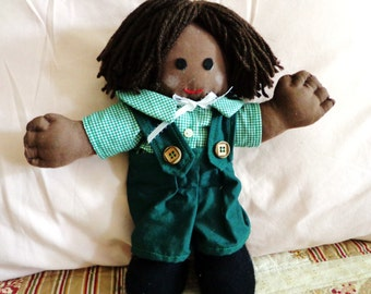 Little Ethnic Boy Fabric Doll with Green Clothing
