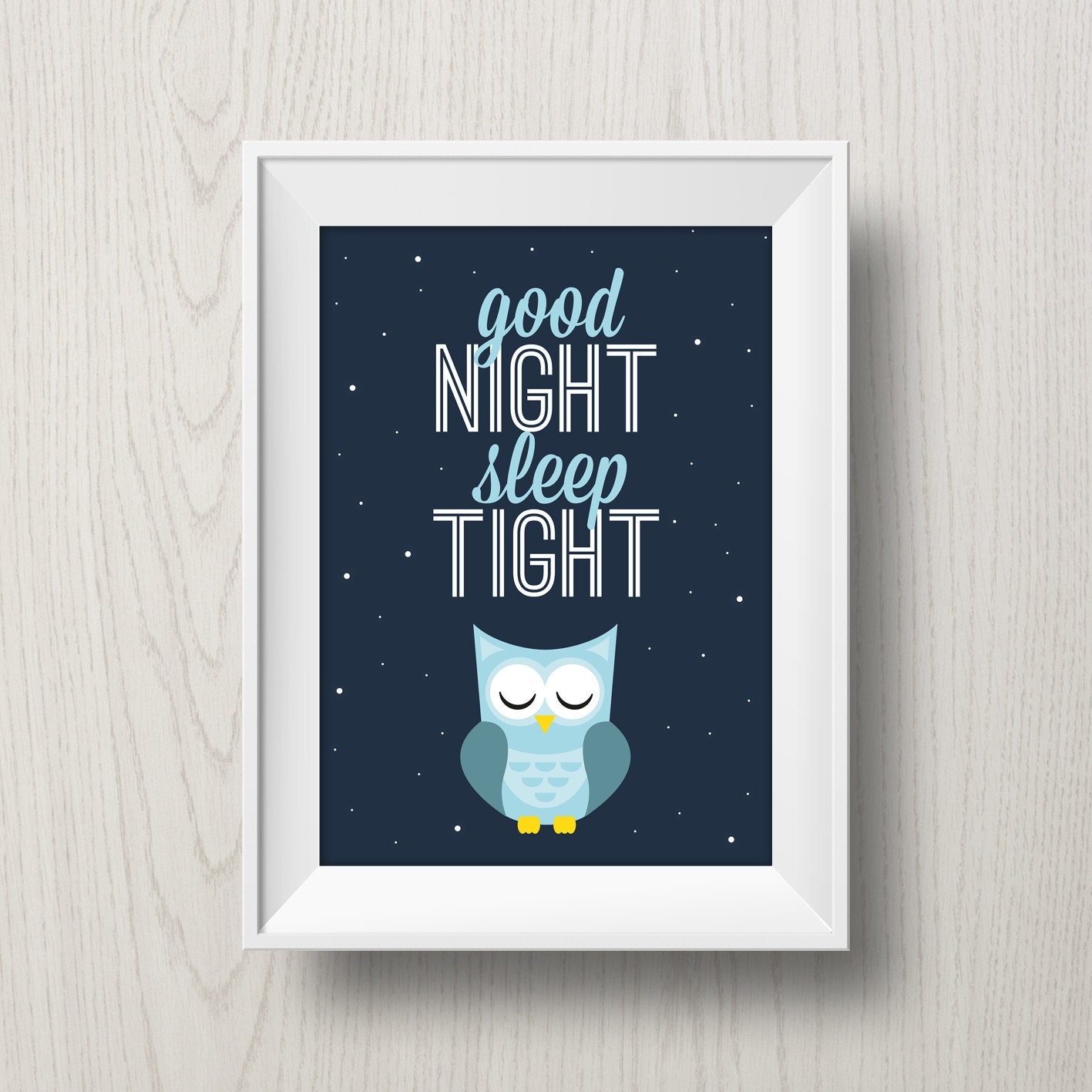 printable owl poster 39 good night sleep tight 39. Black Bedroom Furniture Sets. Home Design Ideas