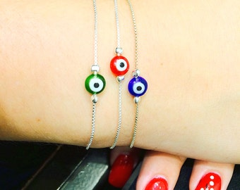 evil eye bracelet with lampwork lucky eye and on a real sterling silver box chain, safe to wet, ON SALE