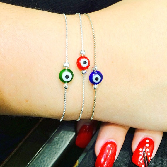 Evil eye bracelet with lampwork lucky eye on .925 sterling silver box chain, Safe to get wet