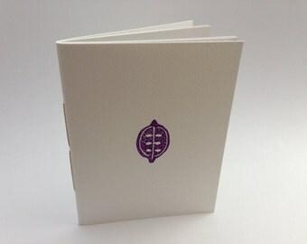 Handmade notebook, hand stamped notepad, blank book, sketchbook