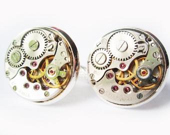 Steampunk Cufflinks 16mm (0,6 inch) silver tone