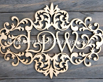 "24"" Wooden Monogram -  VICTORIAN FRAME MONOGRAM - Unpainted Monogram - Home Decor - Wedding Monogram - Door Hanger - Wedding Gift"