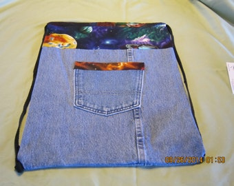 Recycled Blue Jean Cinch Sack Backpack.  Item #45