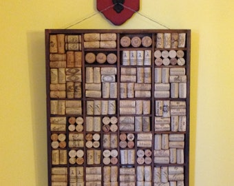 Antique Printer's Tray with Wine Corks Wall Art
