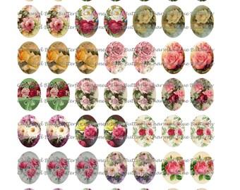 Instant Download Roses 14x10mm Ovals - Digital Collage Sheet