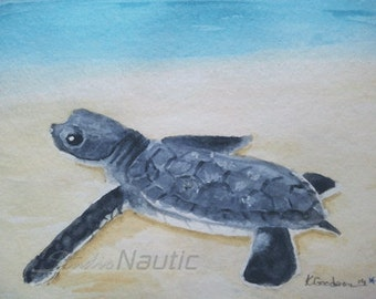 Sea Turtle Hatchling Original Watercolor with White Mat 8x10