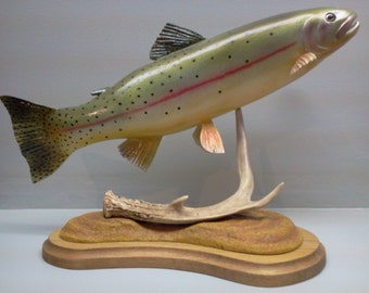 Fish carving of a Yellowstone cuttroat trout.