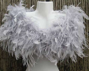 Silver Grey Ostrich Feather Stole / Shrug / Wrap - Vintage Glamour