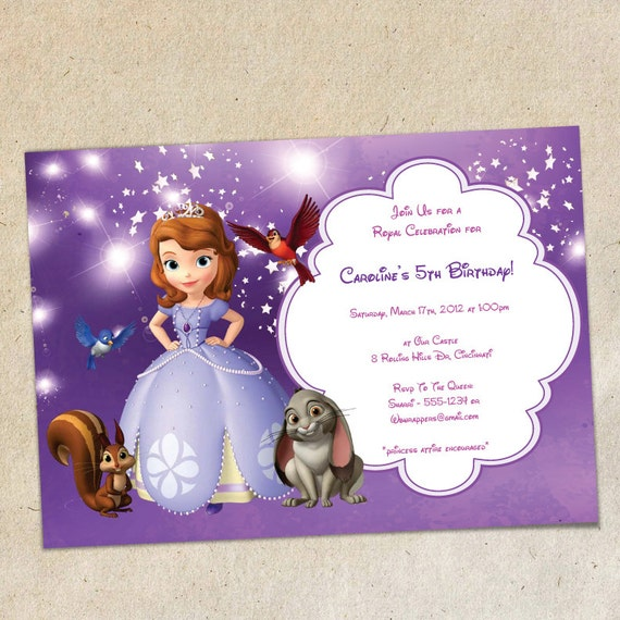 sofia the first party invitation template instant download, Party invitations