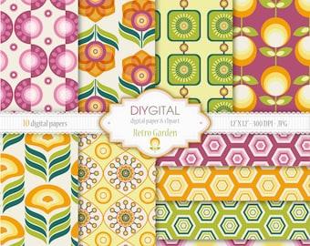 "Retro Garden Digital Paper Set - 10 Printable digital papers for scrapbooking, invites, cards - 12""x12"" - 300dpi- Instant Download"