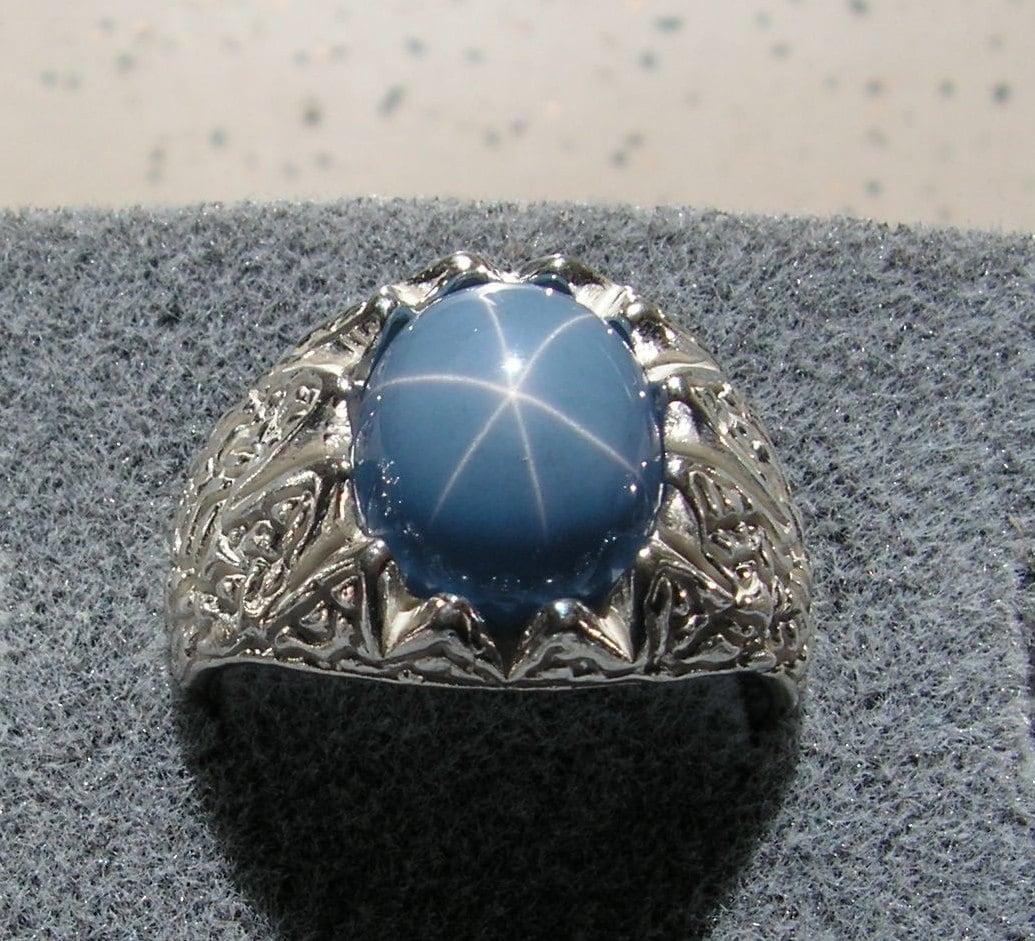 12x10mm Vintage Linde Lindy Azure Blue Star Sapphire Created