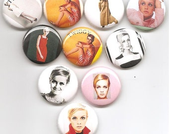 Twiggy 1960's Model   Set of 10 Pins Button Badge Pinback