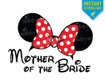 Disney Wedding Mother of the Bride Minnie Ears Printable Iron On Transfer  or Use as Clip