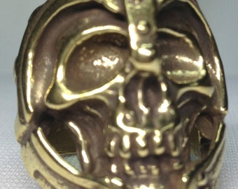 The Biker Skull Solid Brass Ring