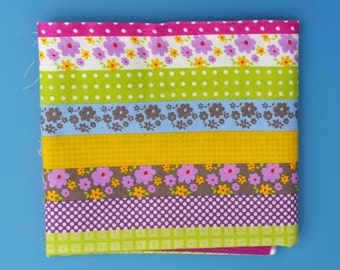 Striped flower Mix Cotton Fabric Remnant