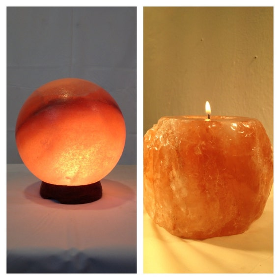 Himalayan Salt Sphere Lamp and Candle holder. by ALIBABA420