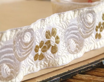Antique French silk jacquard trim in Cream & gold rose floral motif. gold thread flower embroidery. vintage wedding, winter white, rose