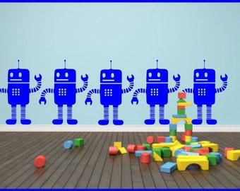 Little Robots x1 Children's Wall Sticker Decal Wall Tattoo Stencil PosterWall Stickers