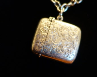 Antique Sterling Silver Chain and Vesta Match Box locket